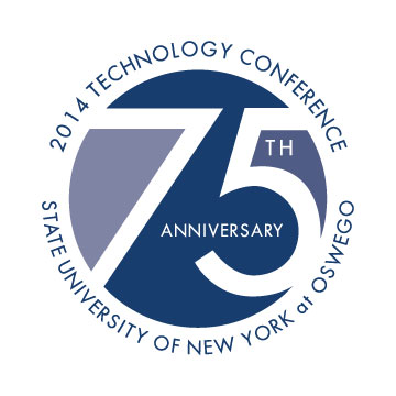 The 75th-Anniversary-Graphic for the Technology Fall Conference: 75 inside a circle surrounded by wrap text saying 2014 Technology Conference and SUNY Oswego